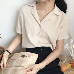 2019春夏季新款韩版气质雪纺短袖衬衫宽松上衣衬衣学生女装打底衫