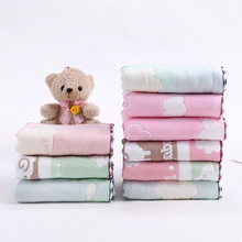 Children's cotton towel, gauze towel, cartoon, cute water absorption, breathable and soft baby's face towel, small square towel, wiping face towel
