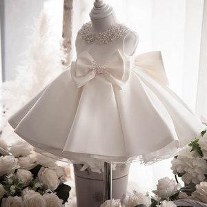 儿童礼服公主裙白色女童<span class=H>婚纱</span>1周岁生日晚礼服裙婴儿蓬蓬纱裙花童