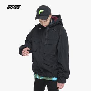 VIISHOW2018新款夹克男韩版宽松男士外套连帽潮牌情侣工装夹克衫