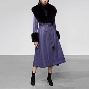 秋冬季女装2018新款毛领麂皮收腰显瘦<span class=H>皮衣</span>加厚中长款修身大衣外套