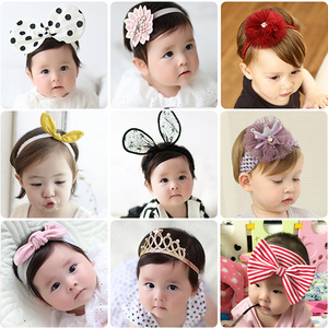女宝宝头饰可爱公主兔耳朵发箍女童0-6-12个月婴儿发带<span class=H>发饰</span>韩版