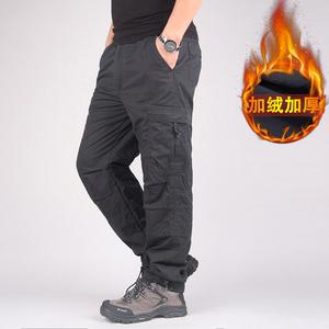 <span class=H>男装</span>加绒裤男士加厚冬季多口袋<span class=H>棉裤</span>大码休闲裤宽松直筒长裤子运动