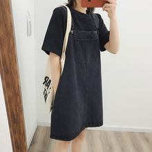 Self-retained Recommendation ~Carbon Black Knock-and-Knock Jean Belt Skirt Spring Dress New Style Loose and Slim Dress Short Skirt