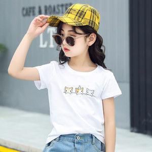 女童短袖<span class=H>T恤</span>5女孩夏装6黑色上衣7半袖体血8白色9�B��十岁12t�S衫