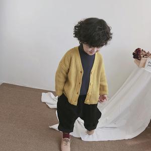 儿童小童男宝宝<span class=H>开衫</span>毛衣外套1-3-5岁潮男童春秋韩版粗毛线针织衫