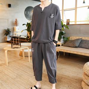 中国风棉麻短袖T恤套装男士青年民族风复古<span class=H>汉服</span>宽松七分裤两件套