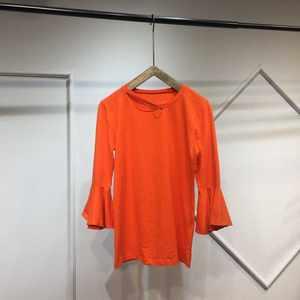 欧洲站春夏款时尚圆领七分喇叭袖亮色宽松显瘦百搭<span class=H>T恤</span>女