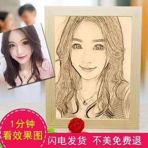 新年特别个性走心创意生日礼物送女生男友同学浪漫照片定制木刻画