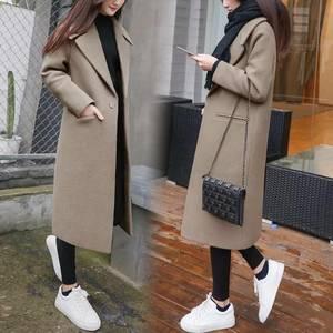 2018新款冬季加厚宽松长款毛呢<span class=H>外套</span>女过膝韩版茧型呢子大衣SXXL