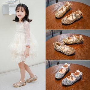 女童<span class=H>皮鞋</span>2019秋季单鞋小公主鞋银色儿童中大童走秀演出水晶鞋女