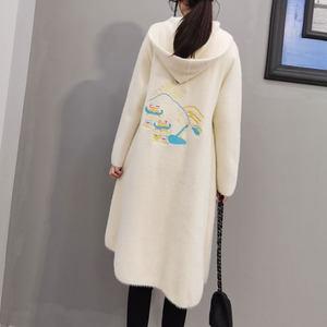 酷伽韩版优雅时尚连帽长袖宽松气质刺绣中长款仿水貂外套2332