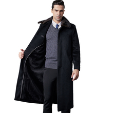 Fleece and knee-length woolen overcoat for middle-aged and old men and winter coat for father