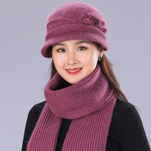 老年帽子女冬奶奶保暖<span class=H>毛线帽</span>中老年妈妈帽冬季加厚盆帽老太太帽子