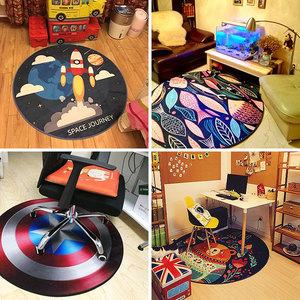 个性动物圆形<span class=H>地毯</span>客厅茶几毯  卧室书房吊椅垫子圆形地垫电脑椅垫