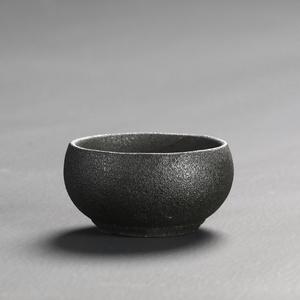 日式复古禅风黑石头釉粗陶茶杯 陶瓷功夫茶具品茗杯茶具茶碗单杯