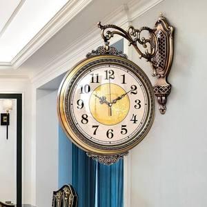 欧式双面挂钟客厅奢华钟表简约时尚复古创意时钟美式家用个性<span class=H>挂表</span>
