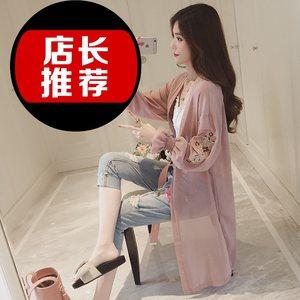 版大码防晒衣女士披肩长袖薄纱夏季2018新款中长款外套雪纺开<span class=H>衫</span>