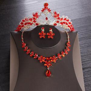中式红色结婚<span class=H>头饰</span>复古新娘皇冠项链耳环三件套<span class=H>婚纱</span>礼服旗袍配饰品