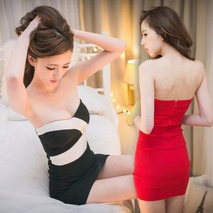 女装夜店性感拼色褶皱紧身包臀抹胸连衣裙裹胸超短裙伴娘小礼服潮