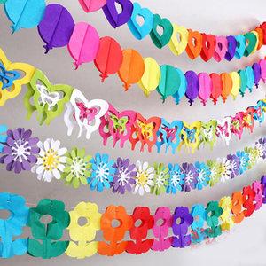 幼儿园房间生日婚庆装饰拉花横幅纸质工艺品舞台七彩创意场景布置