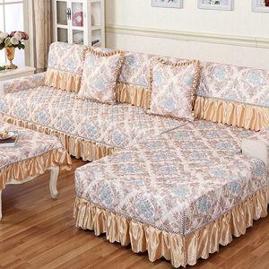 四季亚麻沙发垫欧式蕾丝布艺时尚防滑皮沙发<span class=H>坐垫子</span>沙发巾沙发套罩