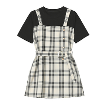Designer Plus Fake Two Chequered Belt Skirts