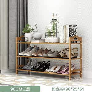 家用门口放鞋架子大容量简易楠木<span class=H>鞋柜</span>经济型50/70/80/90cm长SH2