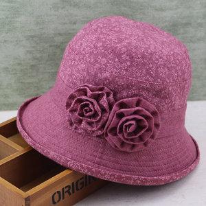夏季女帽中?#22799;?#30406;帽渔夫帽休闲碎花老人帽子奶奶遮阳帽春夏妈妈帽