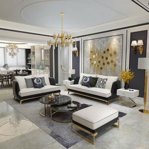 <span class=H>美式</span>沙发真皮布艺北欧风格拆洗小户型客厅<span class=H>家具</span>后现代港式轻奢整装