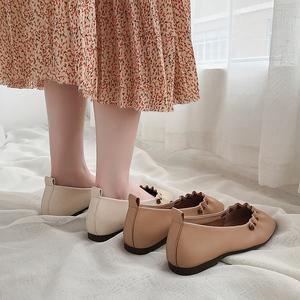 温柔平底鞋<span class=H>单鞋</span>女2019夏款晚晚鞋百搭软底网红仙女浅口瓢鞋豆豆鞋