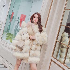 枪枪家2018秋冬季<span class=H>女装</span>新款 时尚洋气中长款人造毛皮草外套大衣