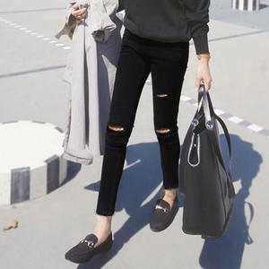黑色破洞打底裤女外穿春夏薄款紧身显瘦