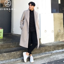 Winter Men's Double-sided Cashmere Overcoat Men's Korean Edition Long Knee Wool Overcoat Men's Loose Windswear Thickening Moisture