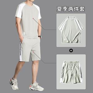 运动套装男夏季短袖休闲<span class=H>服装</span>短裤2019新款韩版潮流时尚帅气两件套