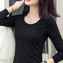 Cotton Black Underwear Slim Style Spring and Autumn Female Cultivation New Long Sleeve T-shirt Top Tight Autumn Clothes