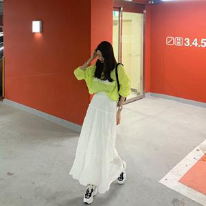 韩国ins网红春款高腰百褶雪纺中长款半身裙 蓬蓬垂坠仙女<span class=H>长裙</span>套装