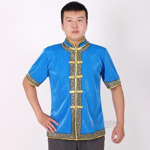 男士蒙古族日常生活装夏季短袖上衣蒙餐酒店服务生工服半袖蒙古袍