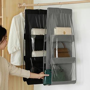 布艺包包收纳挂袋多层悬挂式家用挎包整理袋衣柜墙挂式袋宿舍神器