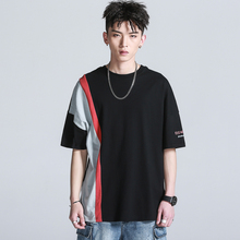 Twenty-eight Summer Trendy Personal Tops Japanese Retro Colour-Coloured Stitching Short-sleeved Cotton Loose T-shirt Male
