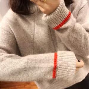 2018韩版慵懒风宽松女冬新款套头高领羊毛绒衫<span class=H>毛衣</span>加厚打底衫