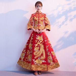 显瘦秀禾服改良2018红装裙子夏天中式敬酒服新娘冬两件套吊带披肩