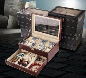 欧式带天窗玻璃盖pu皮手链<span class=H>手表</span>盒整理收纳盒子首饰箱饰品包装礼