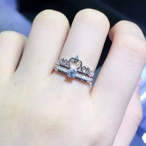 18K白金GIA30分<span class=H>钻石</span>皇冠戒指彩金铂金钻戒求婚结婚砖戒婚戒女正品