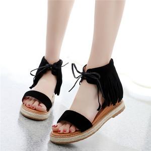 波西米亚坡跟凉鞋女中跟流苏<span class=H>女鞋</span>欧美百搭罗马<span class=H>鞋子</span>厚底大小码<span class=H>鞋子</span>