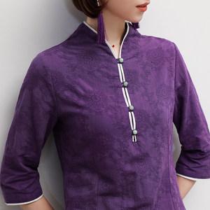 棉麻提花<span class=H>衬衫</span>女装春季新品民族风文艺复古盘扣七分袖T恤茶服上衣
