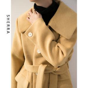 SHERRA鹅黄色摩卡色 oversize宽松大翻领单排扣中长款毛呢<span class=H>大衣</span>女