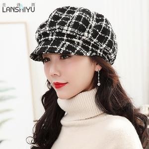 兰诗雨帽子女士秋冬休闲韩版鸭舌帽格子八角帽冬季保暖英伦贝雷帽