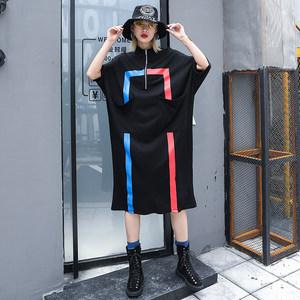 2019春装新款宽松长袖条纹印花连衣裙女装大码休闲中长款个性<span class=H>裙子</span>