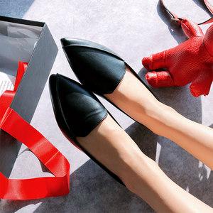 2019春季时尚懒人鞋女防滑软底舒适小皮鞋尖头平底学生通勤<span class=H>单鞋</span>